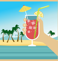 Hand holding cocktail over tropical beach vector