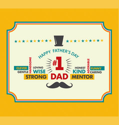 Happy fathers day card vintage vector