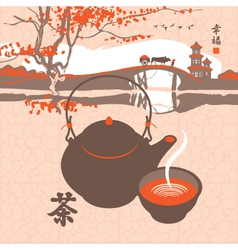 Kettle the scenery vector
