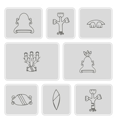 monochrome icon set with aztec pictograms vector image
