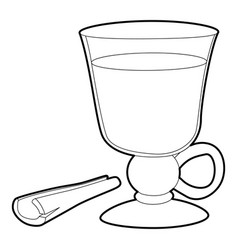 Mulled wine icon outline style vector