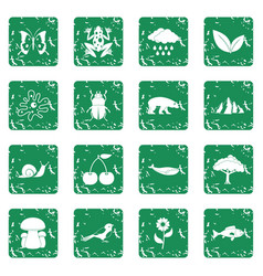 Nature items icons set grunge vector