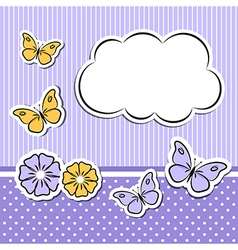 Paper cloud with flowers and butterflies vector image