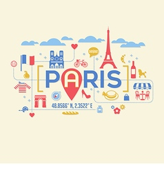 Paris France icons and typography design vector image vector image