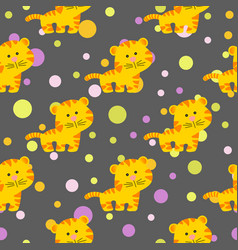 Pattern with cute african tiger vector