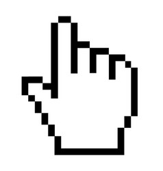 Pixel hand icon on white background hand cursor vector