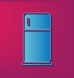 Refrigerator sign blue 3d vector