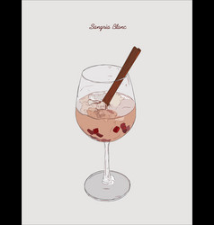 sangria blanc cocktail pomeganate cinnamon vector image