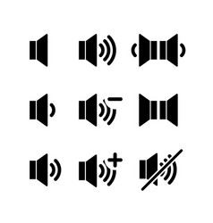 Set of simple black icons of sound volume on white vector