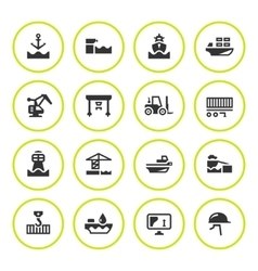 Set round icons of seaport vector