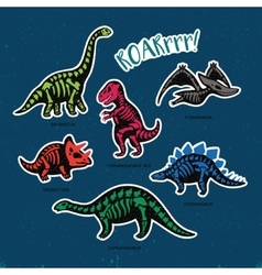 Sticker set of dinosaur skeletons in cartoon style vector
