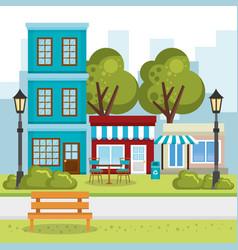 Store building with cityscape scene vector