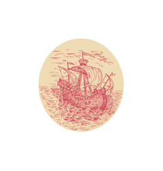 Tall ship sailing stormy sea oval drawing vector