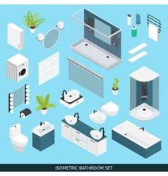 Bathroom isometric icon set vector