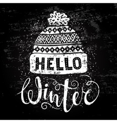 Hello winter text and knitted woolen cap seasonal vector