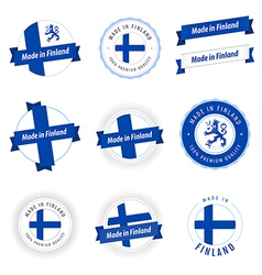 Set of Made in Finland labels and ribbons vector image