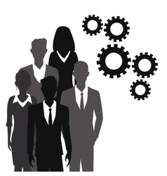 Business people teamwork gear together vector