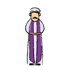 Cartoon man king of orient manger nativity vector