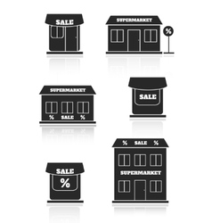 Supermarket shop store icon set vector