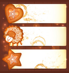 Sweet gingerbread Christmas banners with sheep vector image
