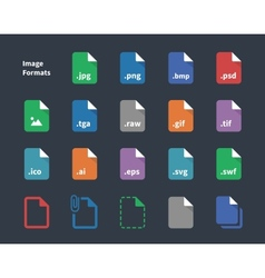 Set of image file labels icons vector