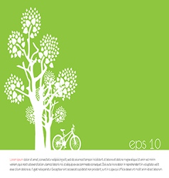 Tree an bicycle over green background vector