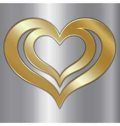 abstract pair of golden hearts on silver vector image