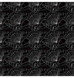Seashells seamless pattern black vector