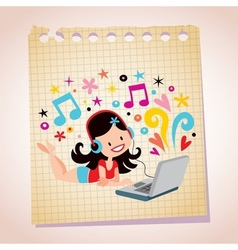 Headphones laptop pretty girl note paper cartoon vector