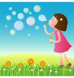 Cute girl blowing bubbles on the lawn vector