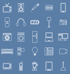 Electrical machine line icons on blue background vector