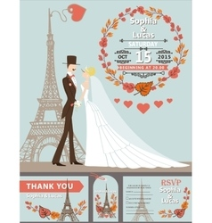 Wedding invitationgroombrideeiffel towerautumn vector