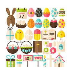 Big Flat Style Collection of Happy Easter Objects vector image