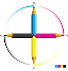 CMYK pencils vector image