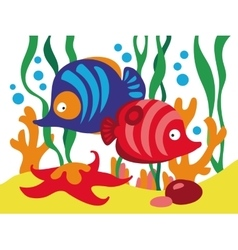 Two cute cartoon fishes under the sea vector
