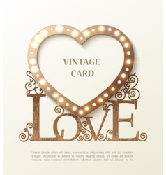 Shine heart with love and shadow vintage card vector