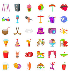 Amusement icons set cartoon style vector