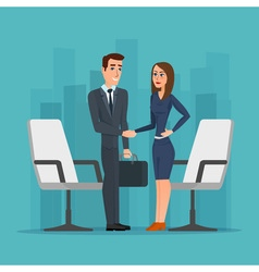 Businesswoman and businessman shaking hands man vector image