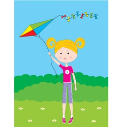 Cartoon the girl with a kite vector image vector image