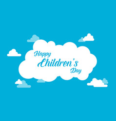 Childrens day with cloud background vector