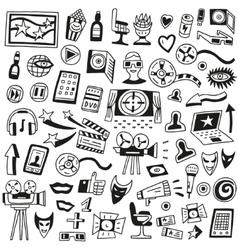 Cinema doodles vector image vector image
