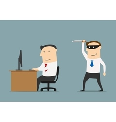 Competitor sneaks a knife to the businessman vector