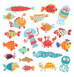 cute flat fish funny cartoon character vector image