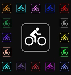 Cyclist icon sign lots of colorful symbols for vector