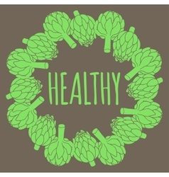 doodle of artichoke healthy food vector image vector image