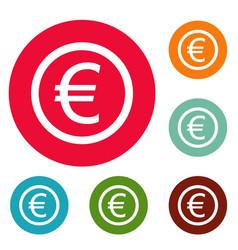 euro symbol icons circle set vector image