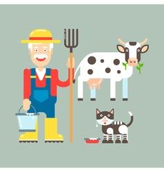 Farmer cow cat vector