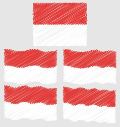 Flat and waving hand draw sketch flag of monaco vector