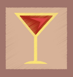 Flat shading style icon martini glass vector