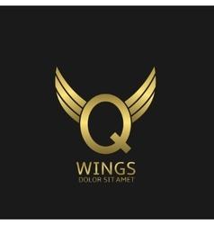 Golden q letter logo vector